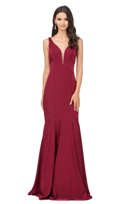 Dancing Queen - 2186 Illusion Plunging Neck Drop Waist Mermaid Dress In Burgundy