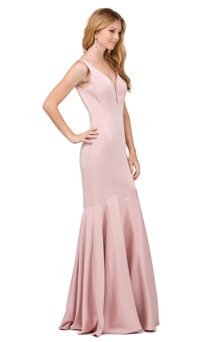 Dancing Queen - 2186 Illusion Plunging Neck Drop Waist Mermaid Dress In Pink