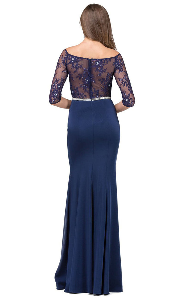 Dancing Queen - 2201 Embellished Bateau Neck Sheath Dress In Blue