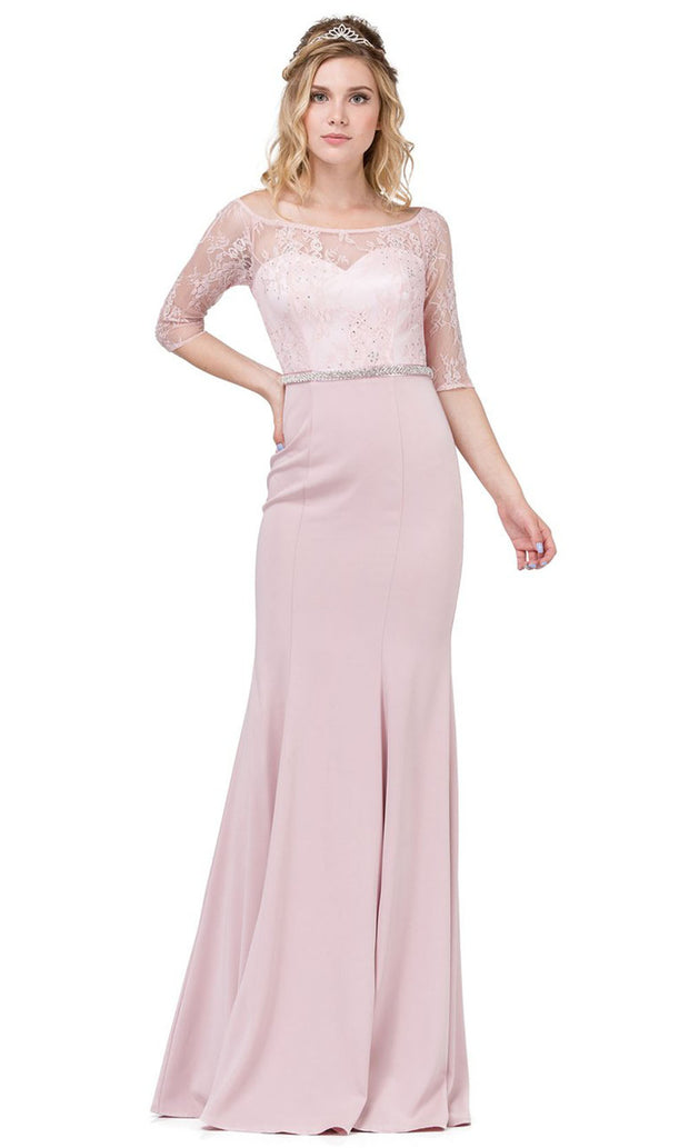 Dancing Queen - 2201 Embellished Bateau Neck Sheath Dress In Pink