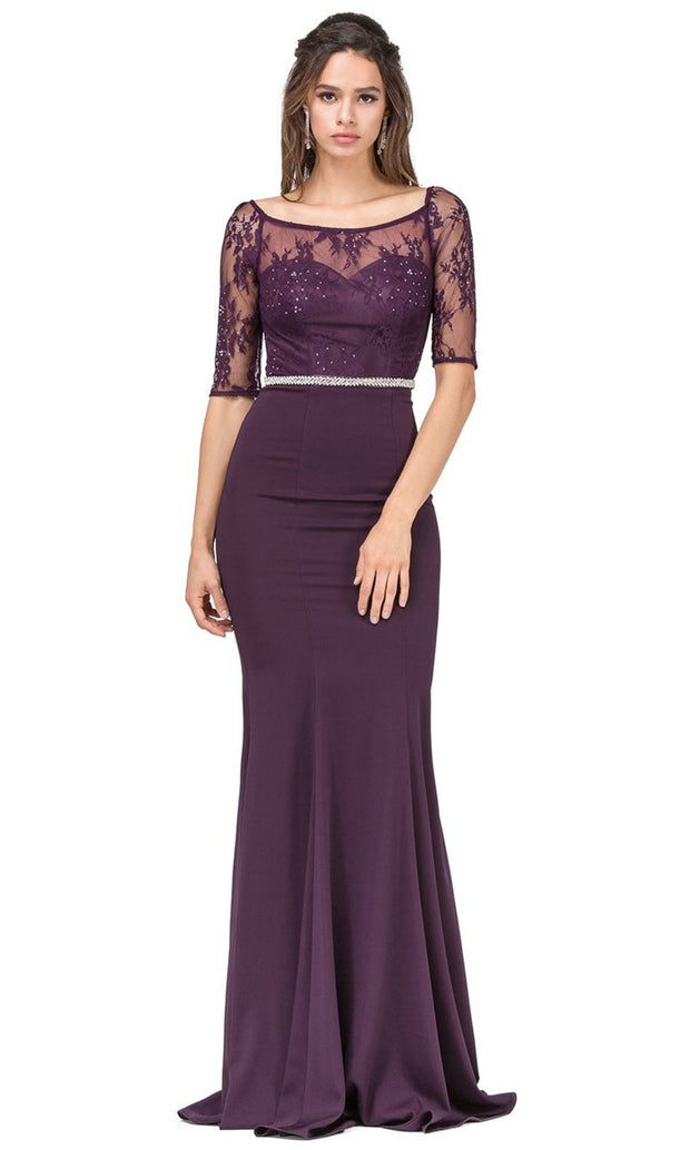 Dancing Queen - 2201 Embellished Bateau Neck Sheath Dress In Purple