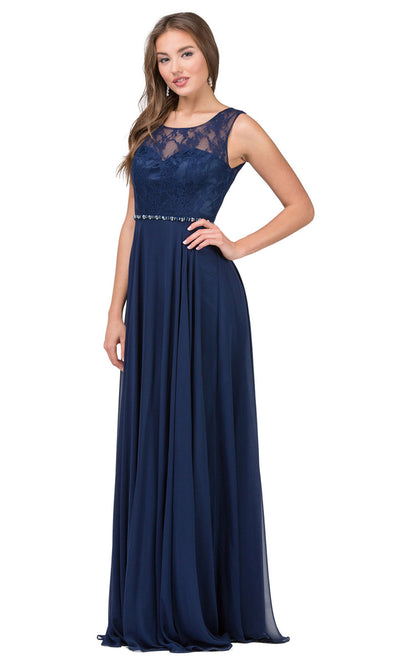 Dancing Queen - 2240 Illusion Neckline Lace Bodice A-Line Gown In Blue