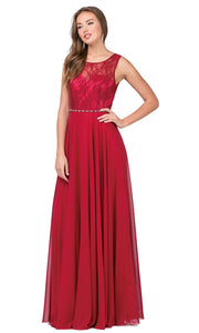 Dancing Queen - 2240 Illusion Neckline Lace Bodice A-Line Gown In Burgundy