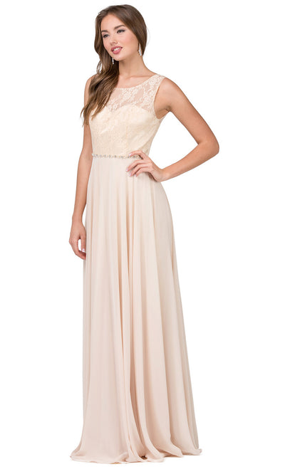 Dancing Queen - 2240 Illusion Neckline Lace Bodice A-Line Gown In Champagne & Gold