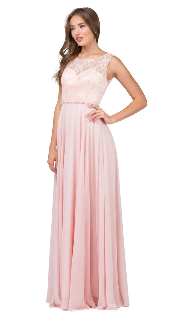 Dancing Queen - 2240 Illusion Neckline Lace Bodice A-Line Gown In Pink