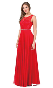 Dancing Queen - 2240 Illusion Neckline Lace Bodice A-Line Gown In Red