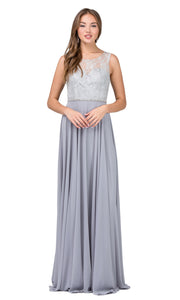 Dancing Queen - 2240 Illusion Neckline Lace Bodice A-Line Gown In Silver & Gray