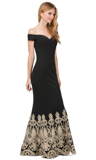 Dancing Queen - 2263 Embroidered Off Shoulder Mermaid Dress In Black