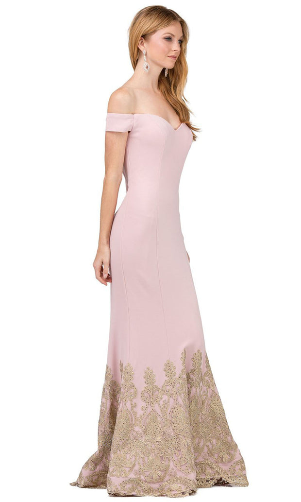 Dancing Queen - 2263 Embroidered Off Shoulder Mermaid Dress In Pink