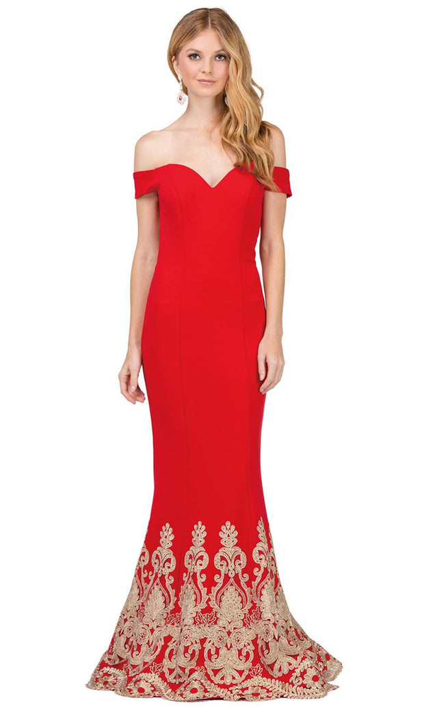 Dancing Queen - 2263 Embroidered Off Shoulder Mermaid Dress In Red