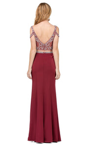 Dancing Queen - 2331 Two-Piece Beaded Cold Shoulder High Slit Dress In Burgundy