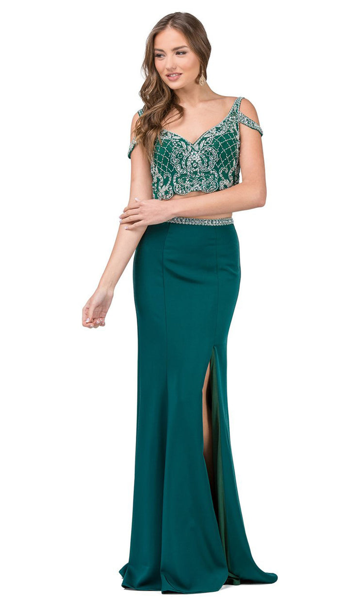 Dancing Queen - 2331 Two-Piece Beaded Cold Shoulder High Slit Dress In Green