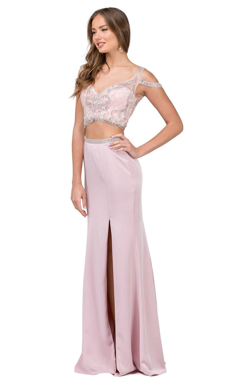 Dancing Queen - 2331 Two-Piece Beaded Cold Shoulder High Slit Dress In Pink