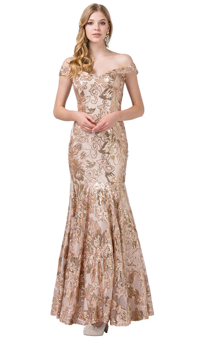 Dancing Queen - 2481 Embellished Off Shoulder Trumpet Dress In Neutral