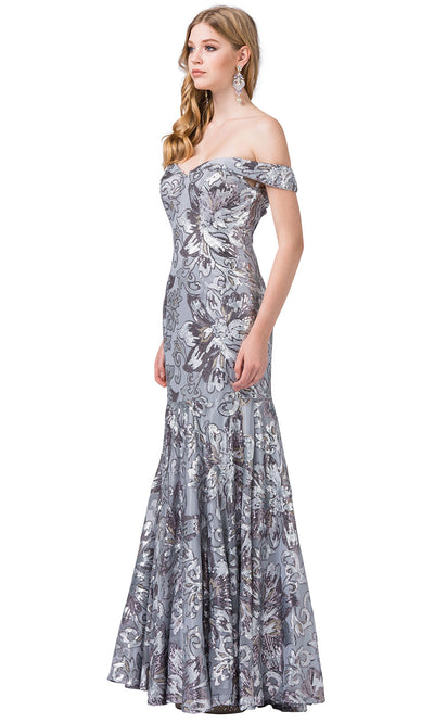 Dancing Queen - 2481 Embellished Off Shoulder Trumpet Dress In Silver