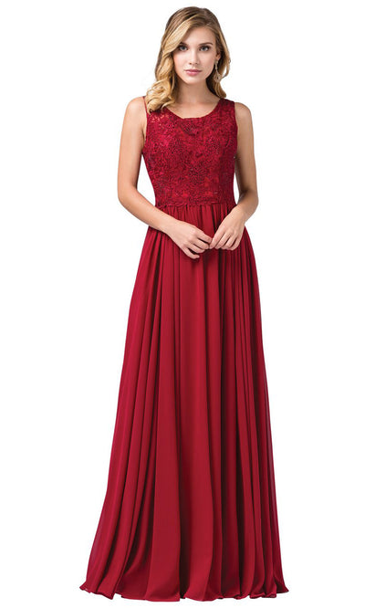Dancing Queen - 2553A Sleeveless Embroidered Chiffon A-Line Dress In Burgundy