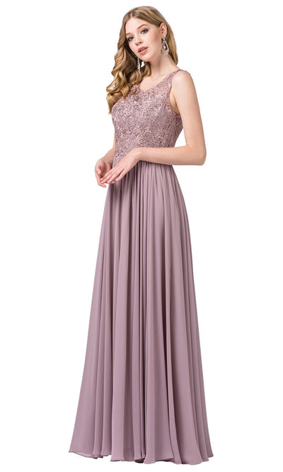 Dancing Queen - 2553A Sleeveless Embroidered Chiffon A-Line Dress In Pink