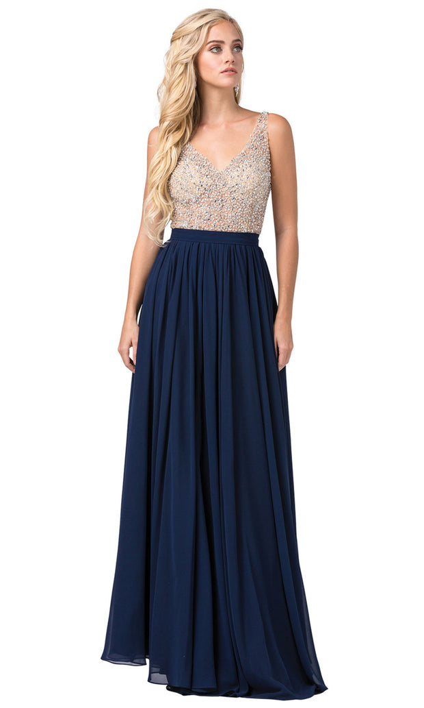 Dancing Queen - 2569 Illusion Beaded Bodice A-Line Gown In Blue