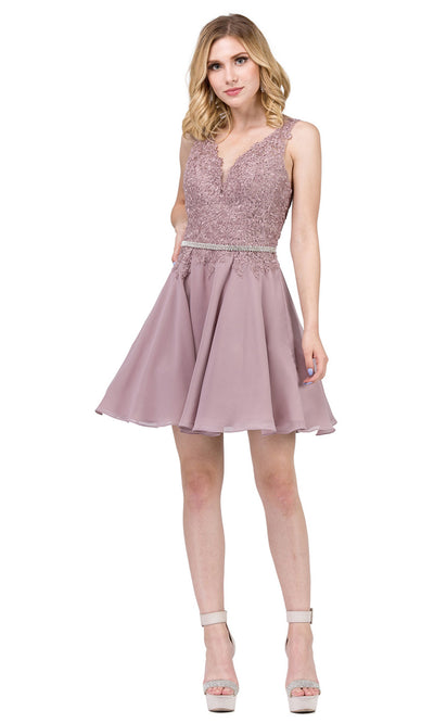 Dancing Queen - 3011 Sleeveless V-Neck A-Line Cocktail Dress In Brown