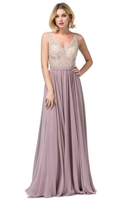 Dancing Queen - 2569 Illusion Beaded Bodice A-Line Gown In Brown