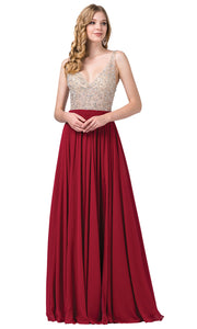 Dancing Queen - 2569 Illusion Beaded Bodice A-Line Gown In Burgundy