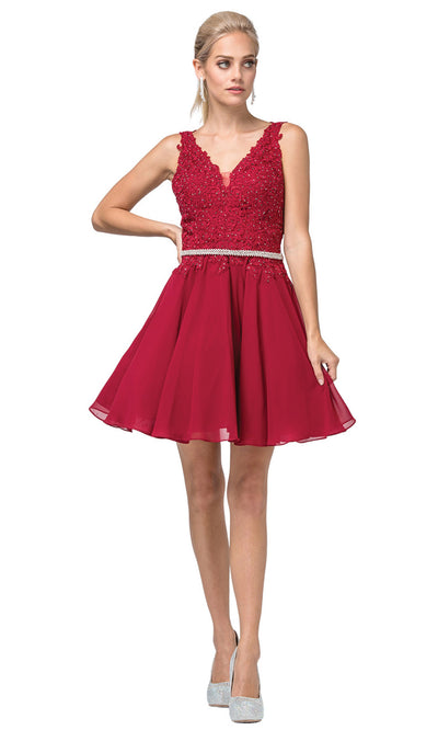 Dancing Queen - 3011 Sleeveless V-Neck A-Line Cocktail Dress In Burgundy