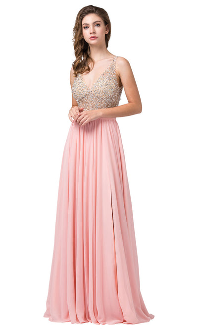 Dancing Queen - 2569 Illusion Beaded Bodice A-Line Gown In Pink