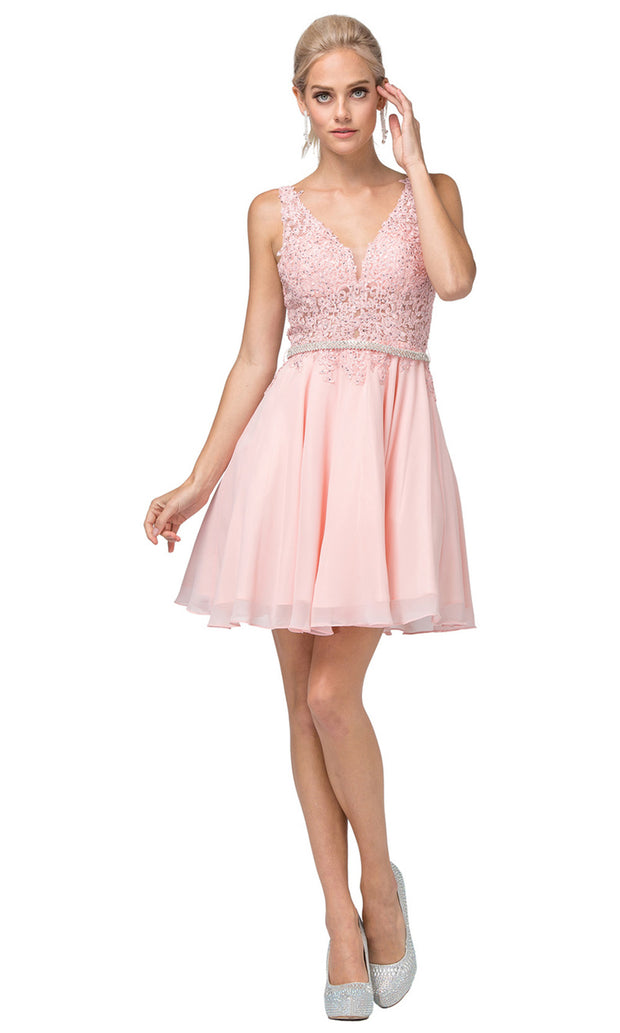 Dancing Queen - 3011 Sleeveless V-Neck A-Line Cocktail Dress In Pink