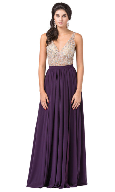 Dancing Queen - 2569 Illusion Beaded Bodice A-Line Gown In Purple