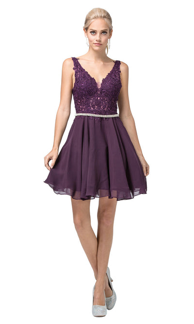 Dancing Queen - 3011 Sleeveless V-Neck A-Line Cocktail Dress In Purple