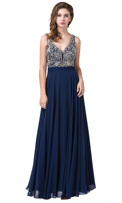 Dancing Queen - 2669 Sleeveless Sheer Deep V-Neck A-Line Chiffon Gown In Blue