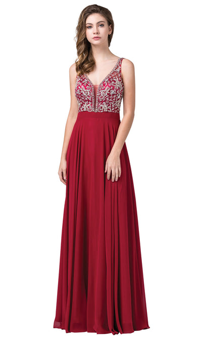Dancing Queen - 2669 Sleeveless Sheer Deep V-Neck A-Line Chiffon Gown In Burgundy