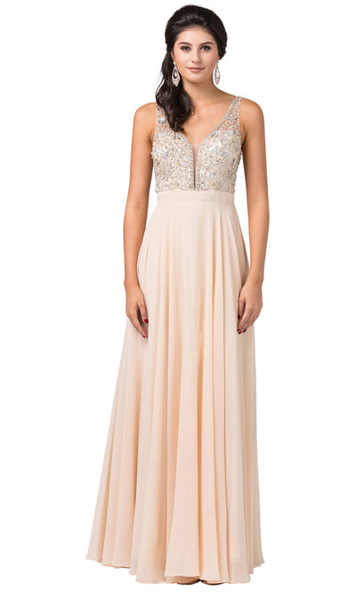 Dancing Queen - 2669 Sleeveless Sheer Deep V-Neck A-Line Chiffon Gown In Champagne & Gold