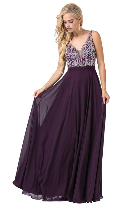 Dancing Queen - 2669 Sleeveless Sheer Deep V-Neck A-Line Chiffon Gown In Purple