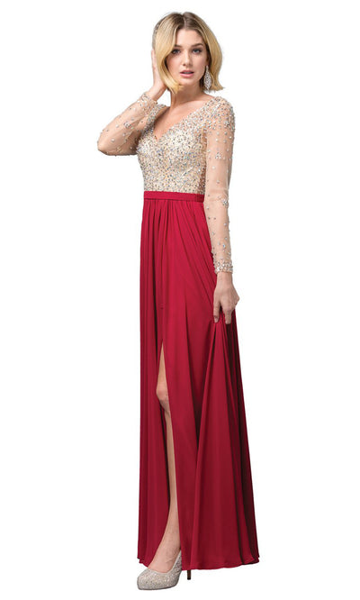 Dancing Queen - 2839 Jeweled Long Sleeve High Slit Dress In Burgundy