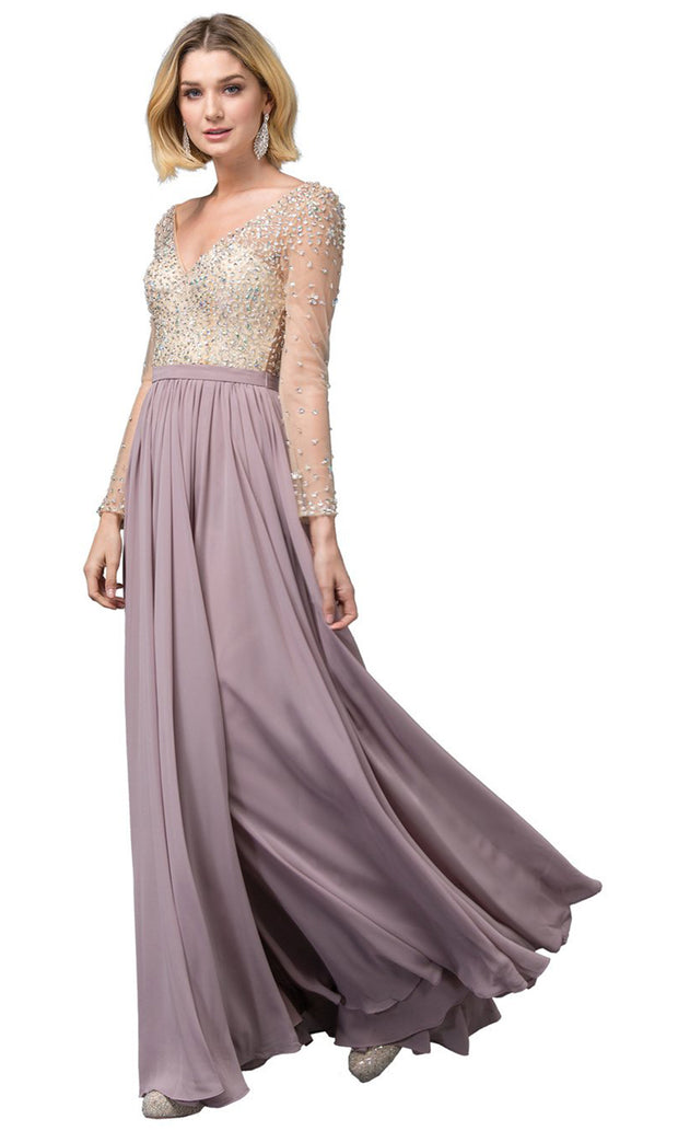 Dancing Queen - 2839 Jeweled Long Sleeve High Slit Dress In Pink