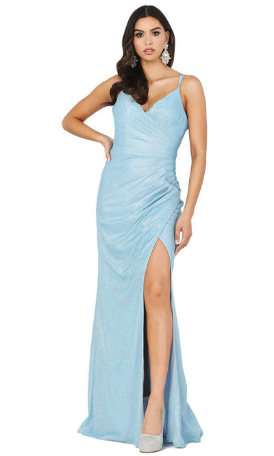 Dancing Queen - 2875 V-Neck High Slit Shimmer Metallic Sheath Gown In Blue