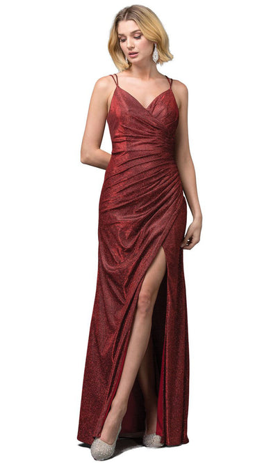 Dancing Queen - 2875 V-Neck High Slit Shimmer Metallic Sheath Gown In Burgundy