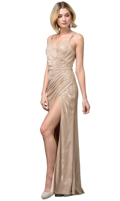 Dancing Queen - 2875 V-Neck High Slit Shimmer Metallic Sheath Gown In Champagne & Gold