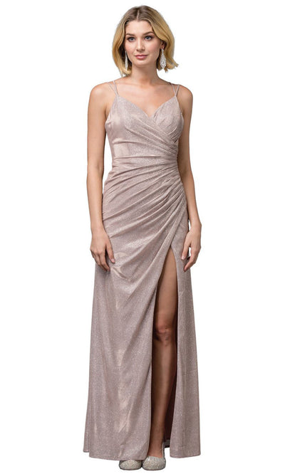 Dancing Queen - 2875 V-Neck High Slit Shimmer Metallic Sheath Gown In Pink