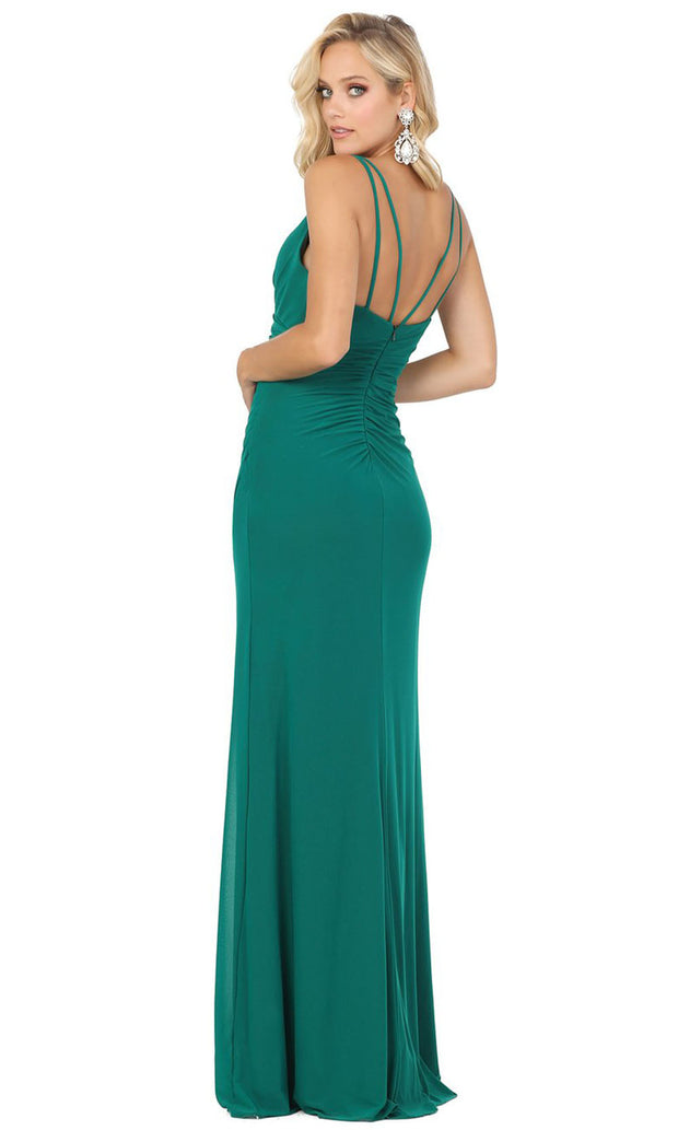 Dancing Queen - 2905 Plunging V Neck Sheath Dress With Slit In Green