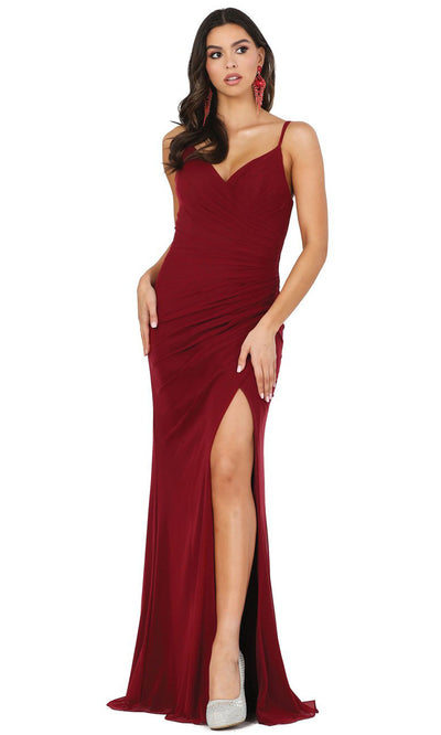 Dancing Queen - 2905 Plunging V Neck Sheath Dress With Slit In Red