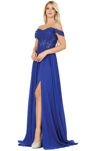 Dancing Queen - 2933 Off Shoulder Lace Bodice High Slit A-Line Gown In Blue