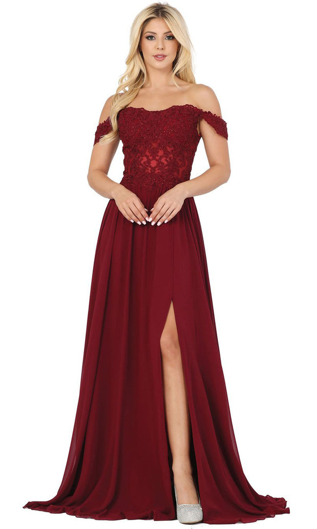 Dancing Queen - 2933 Off Shoulder Lace Bodice High Slit A-Line Gown In Burgundy
