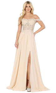 Dancing Queen - 2933 Off Shoulder Lace Bodice High Slit A-Line Gown In Champagne & Gold