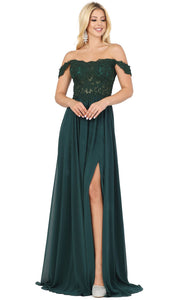Dancing Queen - 2933 Off Shoulder Lace Bodice High Slit A-Line Gown In Green