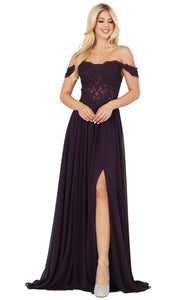 Dancing Queen - 2933 Off Shoulder Lace Bodice High Slit A-Line Gown In Purple