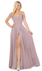 Dancing Queen - 2961 Sheer Lace Back Cold-Shoulders A-Line Gown In Brown