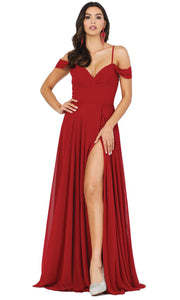 Dancing Queen - 2961 Sheer Lace Back Cold-Shoulders A-Line Gown In Burgundy