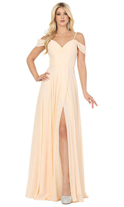 Dancing Queen - 2961 Sheer Lace Back Cold-Shoulders A-Line Gown In Champagne & Gold